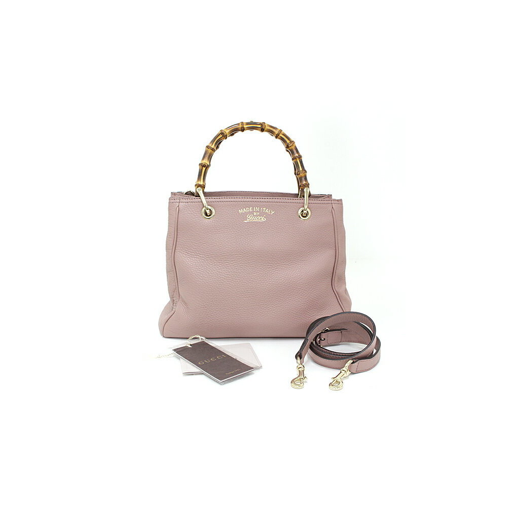 47d32446ef062d Gucci GUCCI Bamboo Shopper Small 2WAY Tote Bag Leather Beige Pink ...