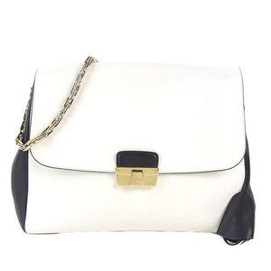 Genuine CHRISTIAN DIOR Dior chain shoulder bag Bicolor leather white x black