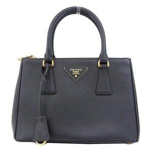 Authentic PRADA Prada Saferian 2 Way Handbag Black 1 BA 896 Bag Leather