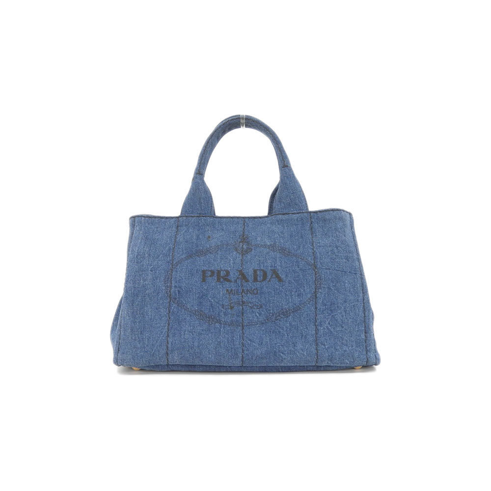 d4bca28d1d1d Genuine PRADA Prada Denim Canvas Kanapa Tote Blue B 1877 Bag Leather