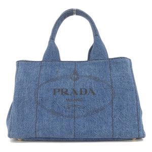 Genuine PRADA Prada Denim Canvas Kanapa Tote Blue B 1877 Bag Leather