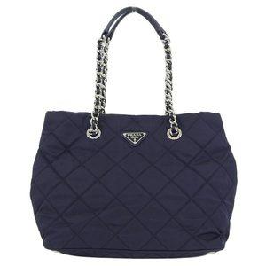 Genuine PRADA Prada Nylon Quilting Chain Tote Shoulder Bag 2 Way Navy BN 2740 Leather