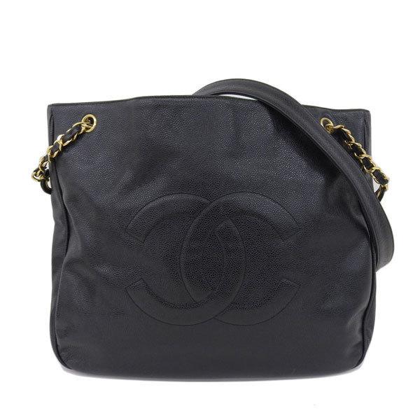 Auth Chanel Caviar Skin Caviar Leather Shoulder Bag Black  aeb2f520127a6