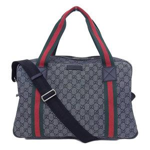 Genuine GUCCI Gucci 2 Way Boston bag Sherry line gray black 374769 Bag leather