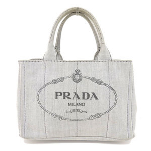 Genuine PRADA Prada Kanapa 2 Way Tote Bag Light Gray 1 BG 439 Leather