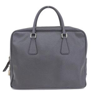 Genuine PRADA Prada Saferian Business Bag Gray Leather