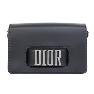 Genuine CHRISTIAN DIOR Dior Leather Shoulder Bag Black