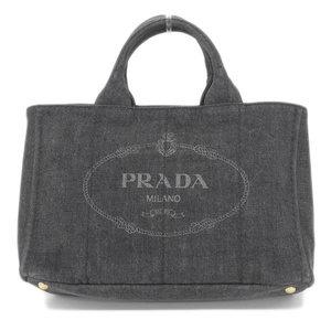 Genuine PRADA Prada Denim Canvas Kanapa 2way Tote Bag Shoulder Medium Black 1 BG 642 Leather