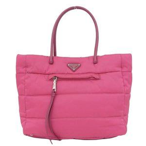 Genuine PRADA Prada Bomber Tote Handbag 2WAY Pink BN 2766 Bag Leather