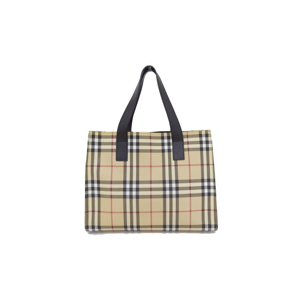 Genuine BURBERRY Burberry PVC plaid tote bag tea leather