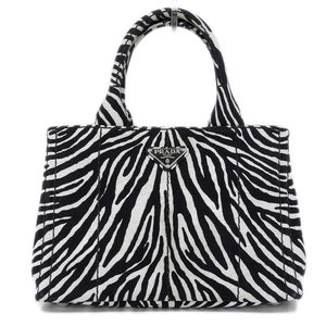 Authentic PRADA Prada Kanapa Canvas 2way Tote Bag Shoulder Zebra Pattern 1 BG 439 Leather