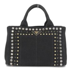 Genuine PRADA Prada Canvas Bijou Studs Kanapa 2way Tote Bag Shoulder Black Leather