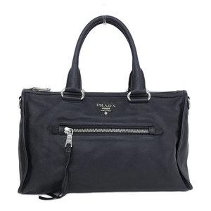 Genuine PRADA Prada 2 WAY Handbag Leather Black BL 0805 Bag