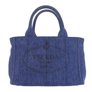 09f87b779c70a8 Authentic PRADA Prada Denim Kanapa Tote PM 2 WAY Indigo B 2439 G Bag Leather