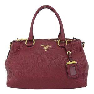 Authentic PRADA Prada 2 Way Handbag Leather Cherrieze 1 BA 866 Bag