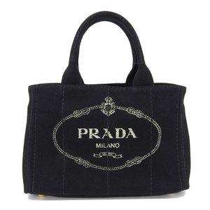 Genuine PRADA Prada Kanapa 2 WAY Tote Bag Black 1 BG 439 Leather