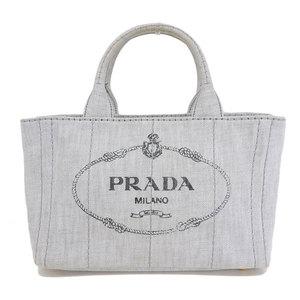 Genuine PRADA Prada Kanapa Canvas 2 WAY Tote Bag Light Gray Leather