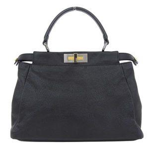 Genuine FENDI Fendi Pekaboo 2 Way Bag Leather Black 8 BN 226