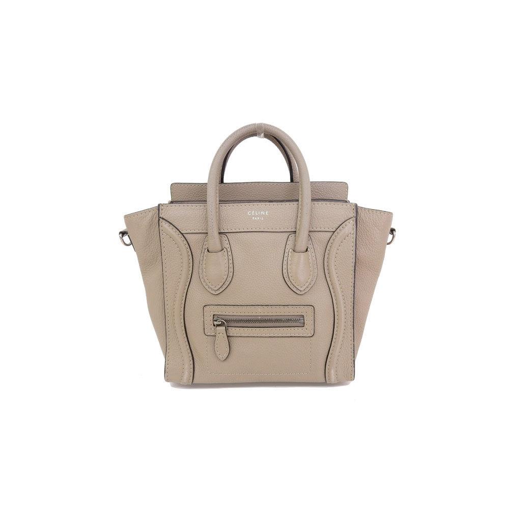 7fdc18a67116 Genuine CELINE Celine Nano Shopper Luggage 2 WAY Handbag Beige 168243 Bag  Leather