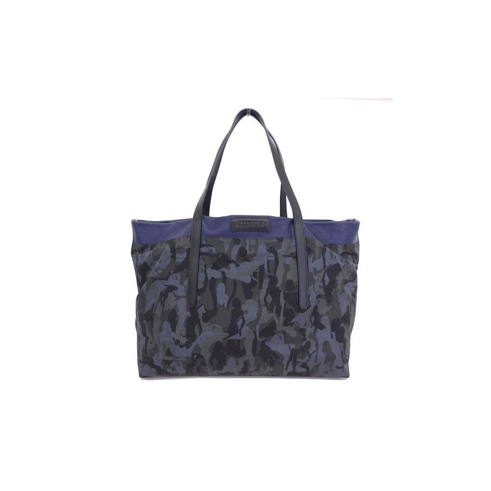 Genuine JIMMY CHOO Jimmy Chew Camouflage Tote Bag Khaki × Black Leather