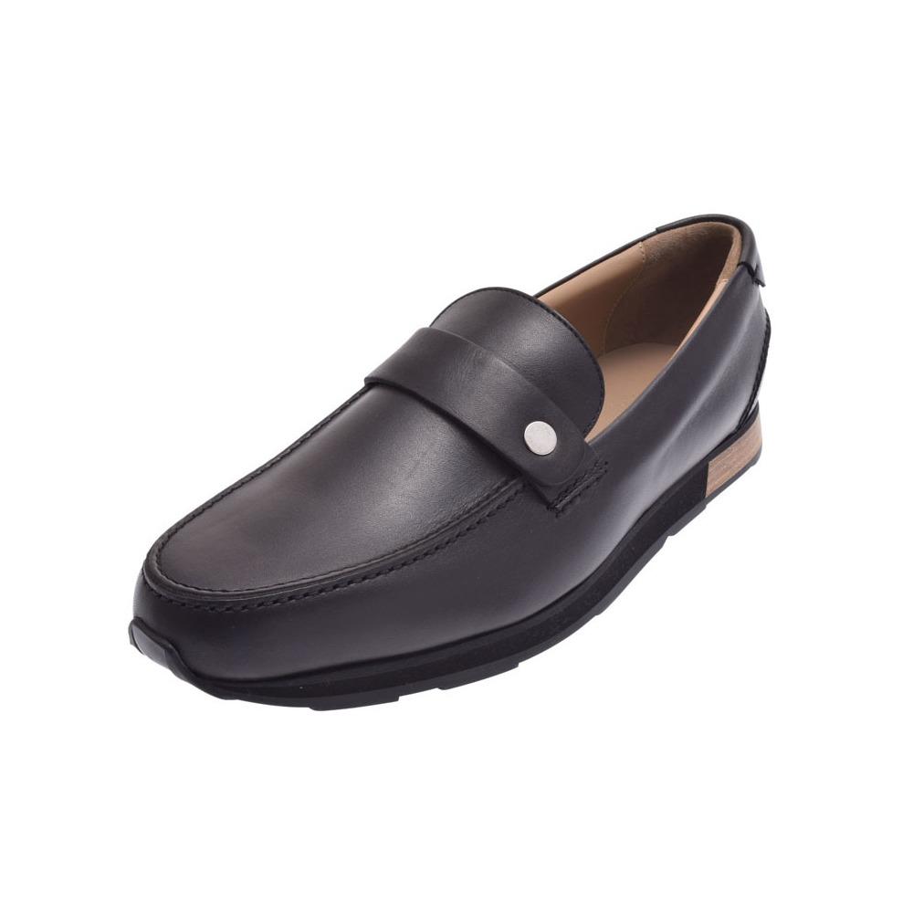 HERMES slippon serie bracket black size 41 1/2 mens leather shoes new article 美 品 銀