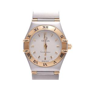 Omega Constellation YG SS white dial board Men's quartz wristwatch A rank OMEGA second hand silver storage