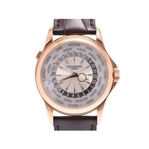パテックフィリップ ワールドタイム シルバー文字盤 5130R-001 メンズ RG/革 自動巻 腕時計 Aランク 美品 PATEK PHILIPPE 箱 ギャラ 中古 銀蔵