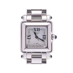 ショパール ハッピースポーツ 白文字盤 レディース SS 5Pダイヤ クオーツ 腕時計 Aランク 美品 CHOPARD 箱 中古 銀蔵
