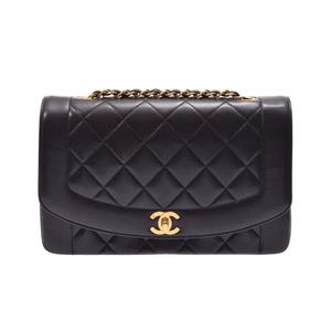シャネル(Chanel) シャネル マトラッセ チェーンショルダーバッグ ダイアナ25cm 黒 G金具 レディース ラムスキン ABランク CHANEL 箱 ギャラ 中古 銀蔵