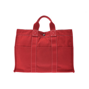 e5249f83ef44 Hermes Deauville MM Red Men s Ladies Canvas Tote Bag AB Rank HERMES Used  Ginza