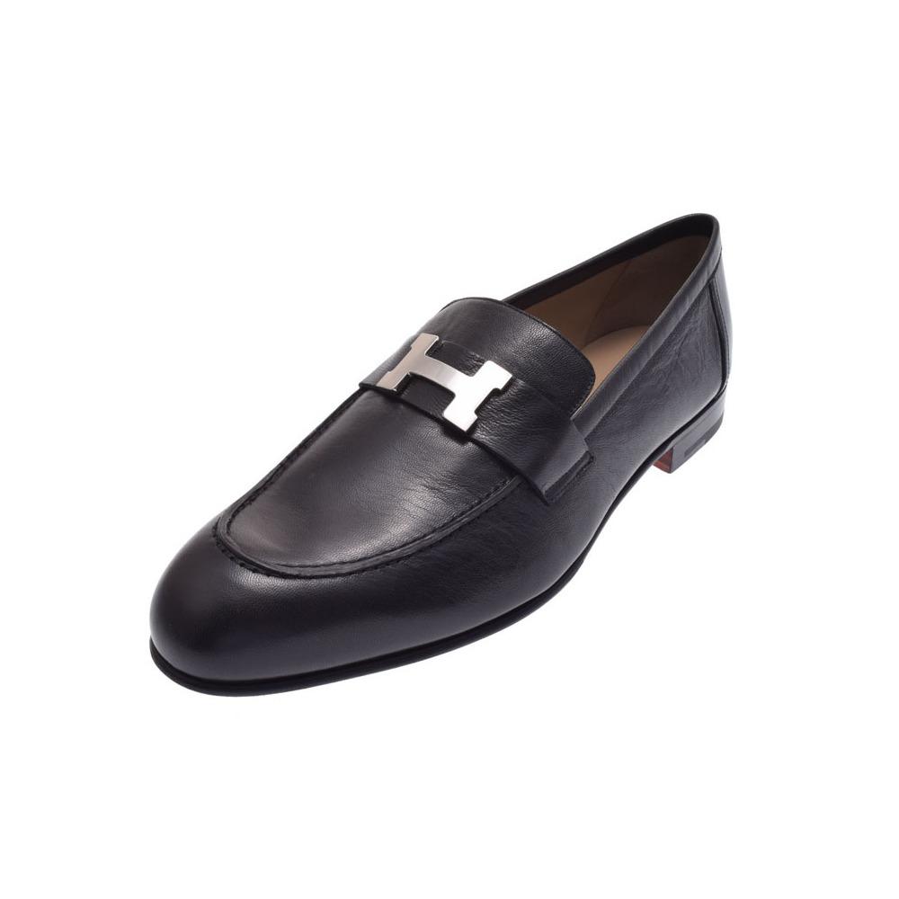 Hermès Moccasin Paris H metal fittings black size 42 men's chevre shoes new article 美 品 HERMES 銀