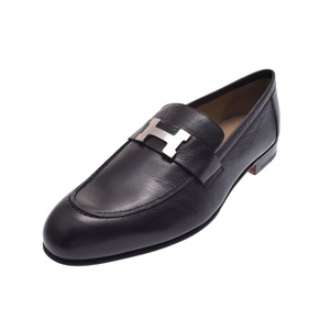 Hermès Moccasin Paris H metal fittings black size 42 men's chevre shoes new article 美 品 HERMES 銀