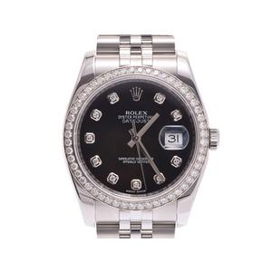 ROLEX Datejust black letter board 10P diamond 116244G Women's SS / WG Bezel automatic winding watch A rank beautiful goods GALA second hand silver storage