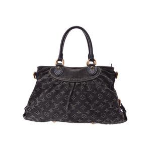 Louis Vuitton Denim Neokabby MM Black M95351 Women's 2 WAY Bag C Rank LOUIS VUITON with strap Used silver storage