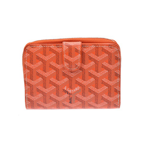 Goyar compact round zipper purse Orange men's ladies PVC A rank beautiful goods GOYARD used second hand store