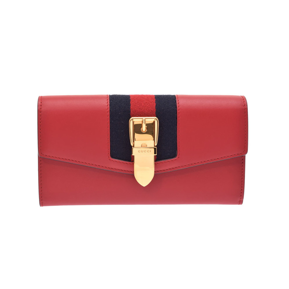 89bd7f2d7375 Gucci Sylvie Continental Wallet Hibiscus Red Leather Long Purse Unused  Beauty Item GUCCI Box Used Ginza