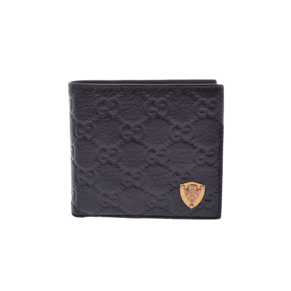c3da9d64f91 Gucci Shima two fold wallet black men s ladies leather new same beautiful  goods GUCCI secondhand silver store