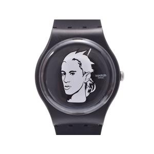 スウォッチ Jeremy Scottコラボ 黒文字盤 SUOZ121 メンズ プラスチック/ラバー クオーツ 腕時計 Aランク 美品 Swatch 中古 銀蔵