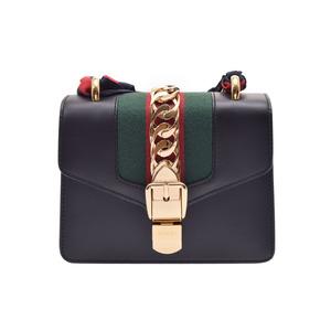 Gucci Silvi mini chain shoulder bag black G fittings ladies calf unused beautiful goods GUCCI secondhand silver storage