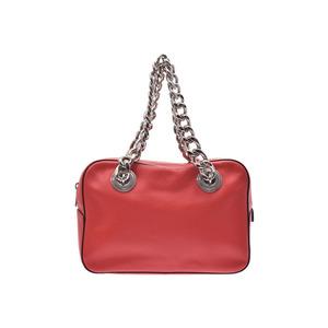 Prada chain shoulder bag red 1BB017 Ladies  leather A rank PRADA second  hand silver storage b37326815a52e
