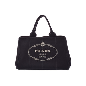 Prada Kanapa Black BN 2624 Ladies Canvas 2 WAY Tote Bag AB Rank PRADA with Strap Used Ginza