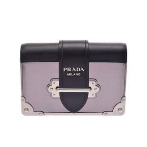 Prada Cahier Shoulder Bag Black × Purple 1 BH 018 Ladies Leather Enamel A Rank Beauty Item Galla PRADA Used Ginza