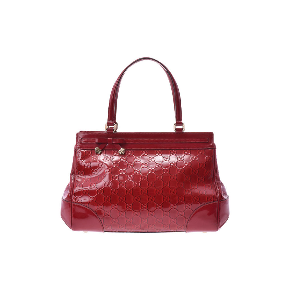 facfbd96762 Gucci Tote Bag Red Type Las Enamel B Rank Second Hand