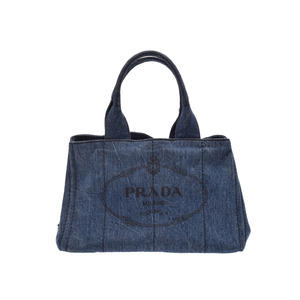 Prada Kanapa Blue B 1877 Ladies Denim Tote Rank PRADA Galler Used Ginza