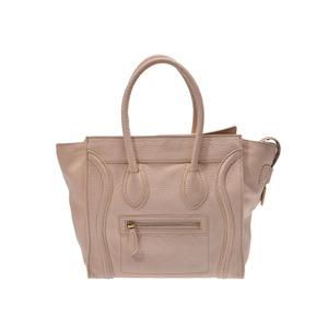 Celine luggage micro shopper beige ladies leather handbag B rank CELINE second hand silver storage