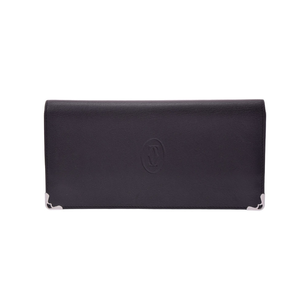 69994269f1 Cartier Nets Fold Purse Black Ladies Men's Leather AB Rank CARTIER Used  Ginza