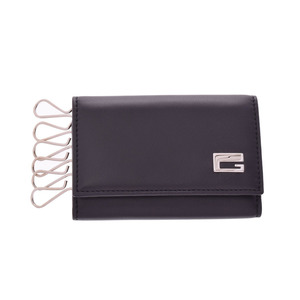 Gucci six consecutive key case black men's leather new same beauty goods GUCCI box secondhand silver kura