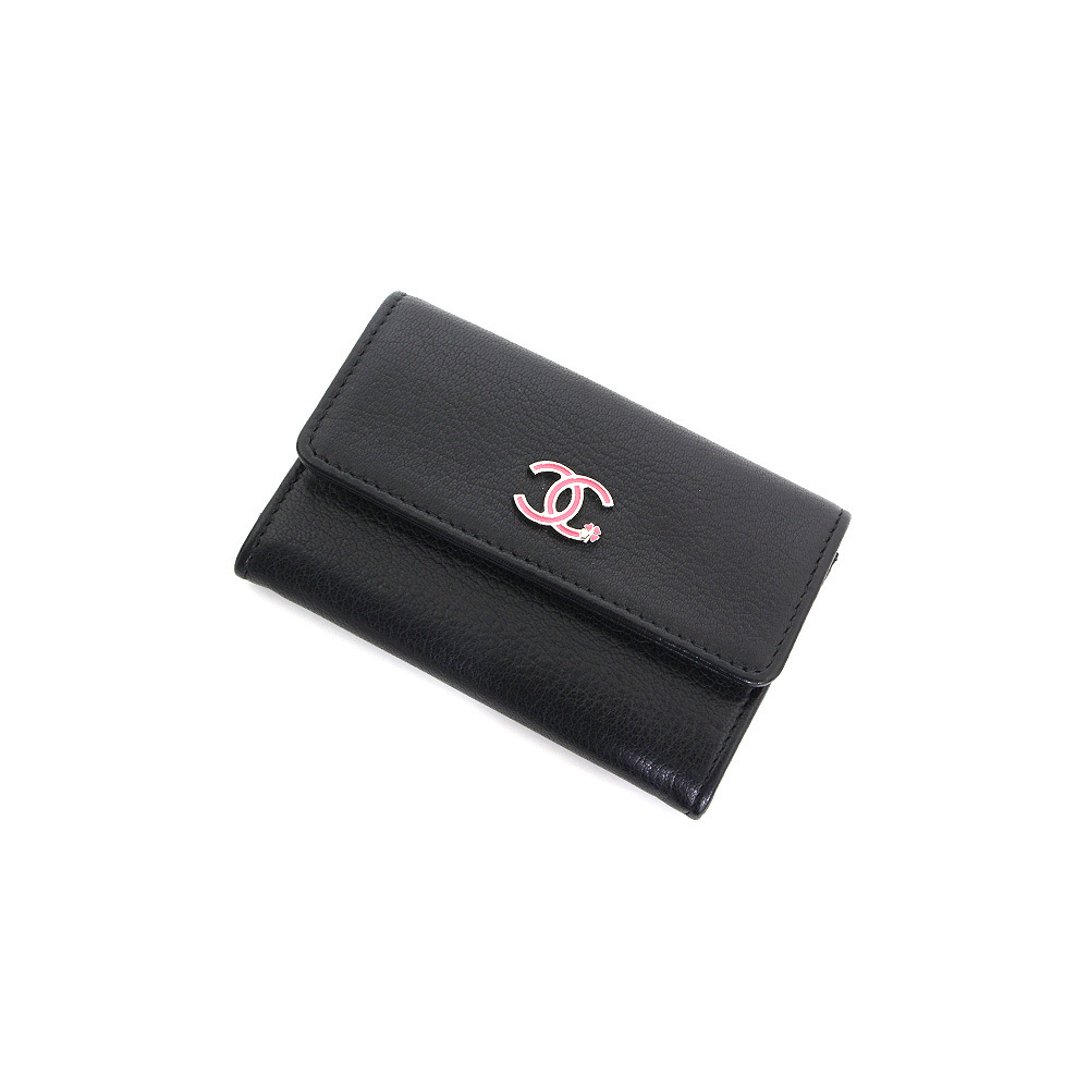 Chanel Chanel Coin Case Leather Business Card Holder Black S Rank Mint