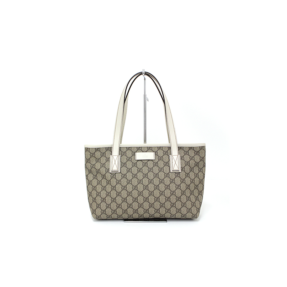 260c8c343512 Gucci GUCCI GG plus tote bag PVC coated canvas / leather beige off-white  211138 unused item