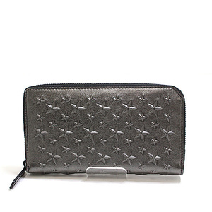 Jimmy Choo round fastener wallet CARNABY Gunmetal grain leather unused item
